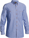 Bisley Chambray Shirt Long Sleeve 100 Cotton Blue