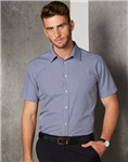 Benchmark Mens Two Tone Gingham Short Sleeve Shirt